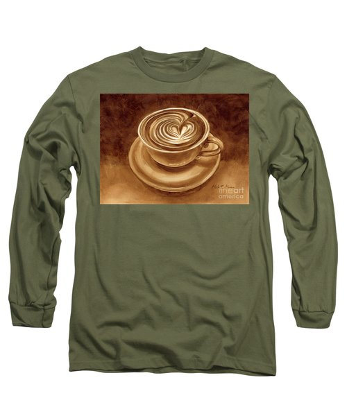 Long Sleeve T-Shirt featuring the painting Heart Latte by Hailey E Herrera