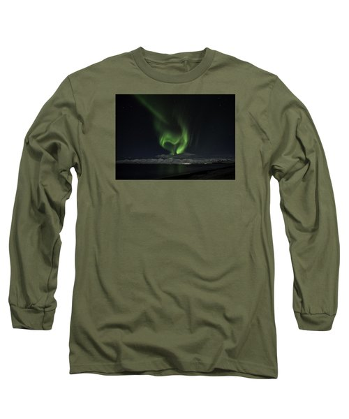 Heart Of Northern Lights Long Sleeve T-Shirt by Frodi Brinks