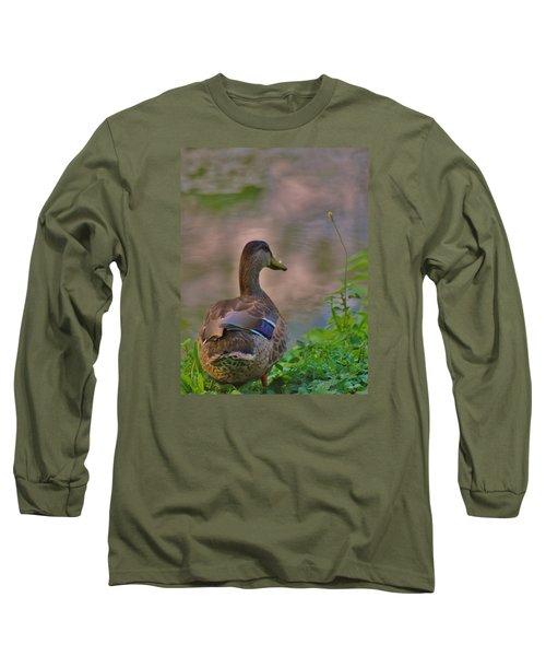 Long Sleeve T-Shirt featuring the photograph Heavenly Mallard by Ramona Whiteaker