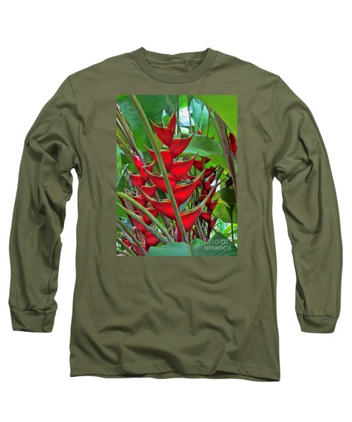 Heliconias Long Sleeve T-Shirt by Steven Parker