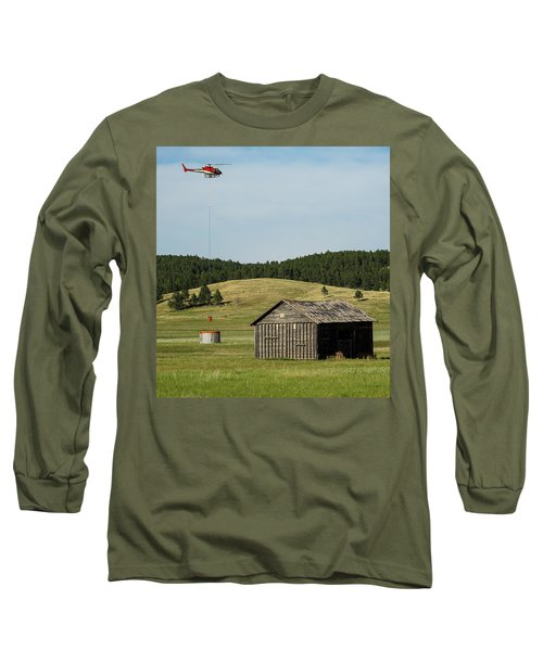 Helicopter Dips Water At Heliwell Long Sleeve T-Shirt by Bill Gabbert