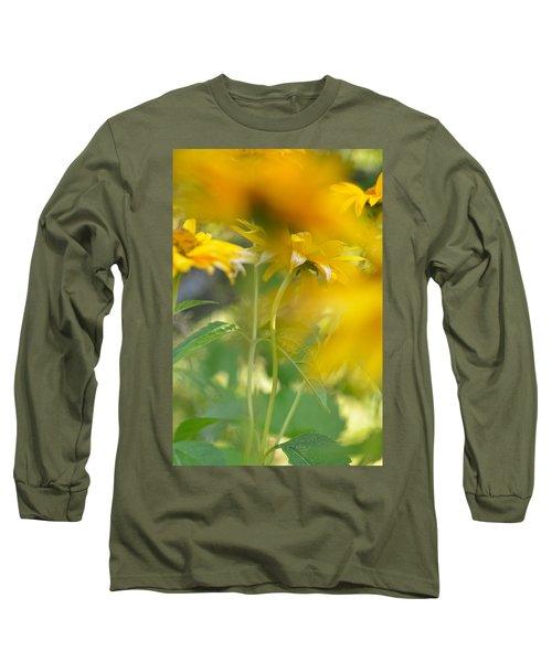 Heliopsis Blur Long Sleeve T-Shirt by Janet Rockburn