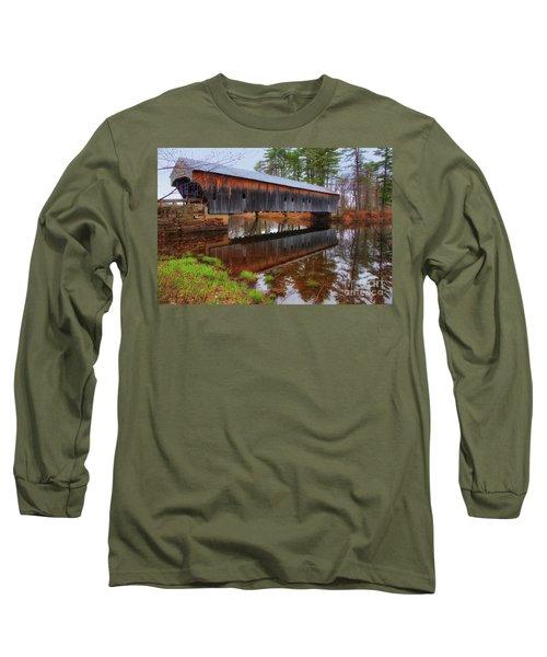 Hemlock Covered Bridge Fryeburg Maine Long Sleeve T-Shirt