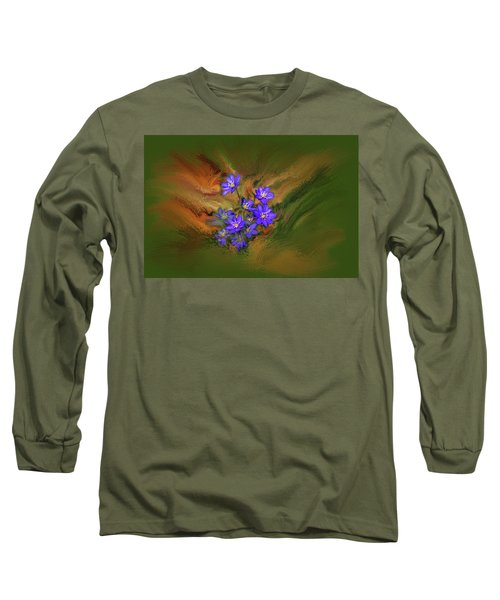 Hepatica Nobilis Painterly #h4 Long Sleeve T-Shirt