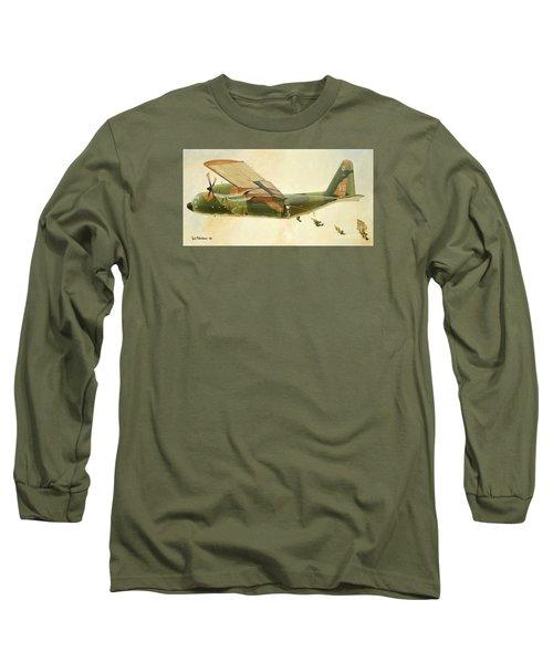 Long Sleeve T-Shirt featuring the painting Hercules Paratroop Drop by Paul Clinkunbroomer
