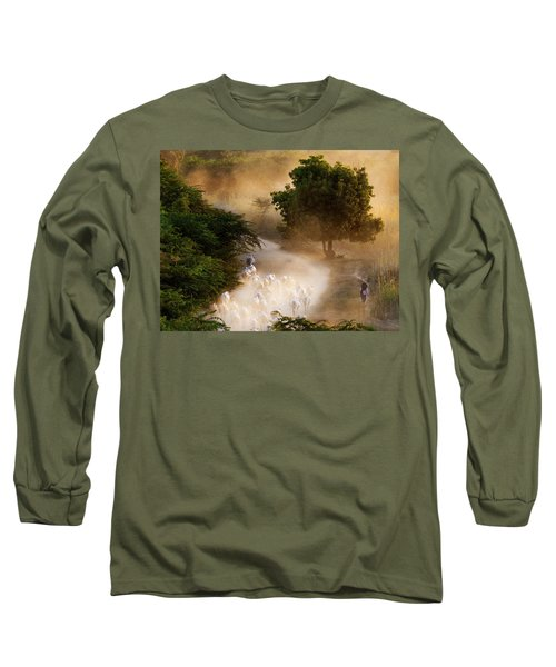 herd and farmer going home in the evening, Bagan Myanmar Long Sleeve T-Shirt