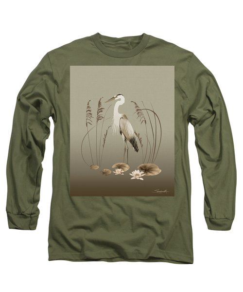 Heron And Lotus Flowers Long Sleeve T-Shirt