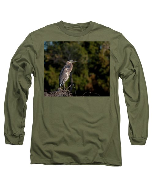 Heron At Sunrise Long Sleeve T-Shirt