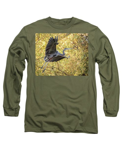 Heron In Flight Long Sleeve T-Shirt by Keith Boone