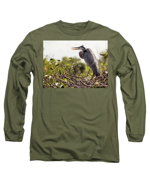 Heron In Nest Long Sleeve T-Shirt by Jim Gillen