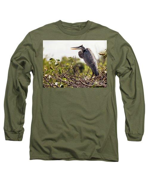 Heron In Nest Long Sleeve T-Shirt