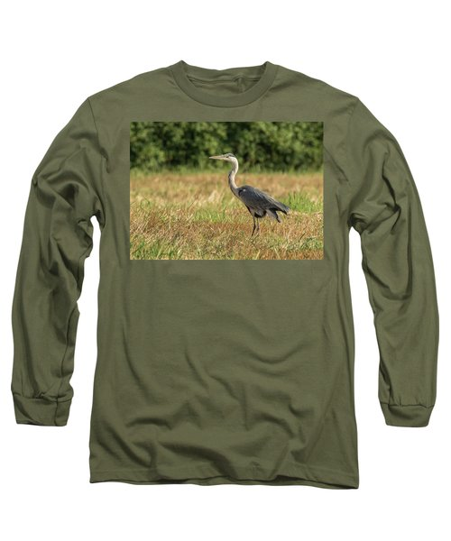 Heron In The Field Long Sleeve T-Shirt
