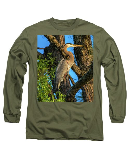 Heron In The Pine Tree Long Sleeve T-Shirt