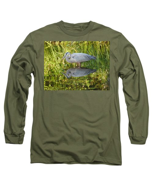 Heron's Reflection Long Sleeve T-Shirt by Jane Ford