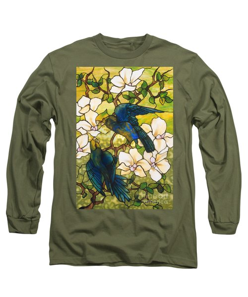 Hibiscus And Parrots Long Sleeve T-Shirt by Louis Comfort Tiffany