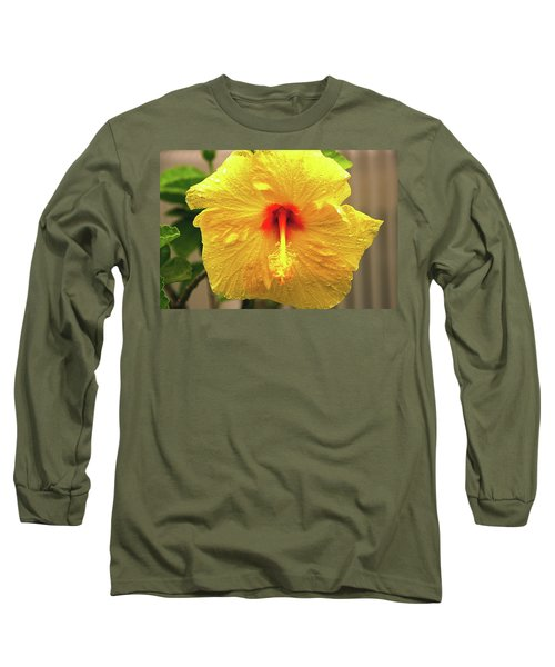 Hibiscus Flower After The Rain Long Sleeve T-Shirt