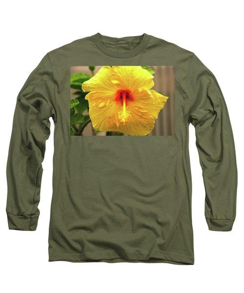 Hibiscus Flower After The Rain Long Sleeve T-Shirt