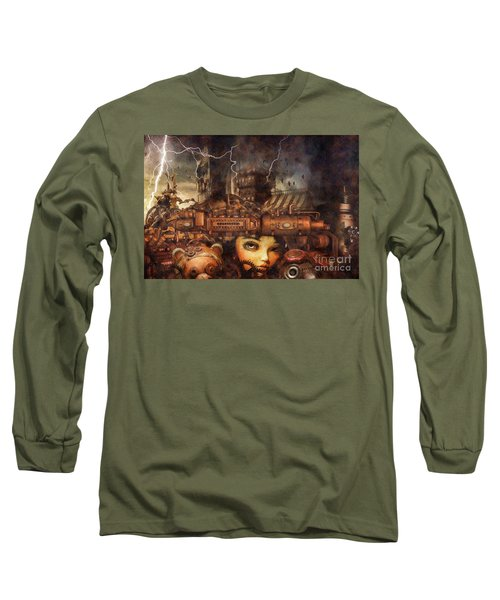Long Sleeve T-Shirt featuring the drawing Hide And Seek by Mo T