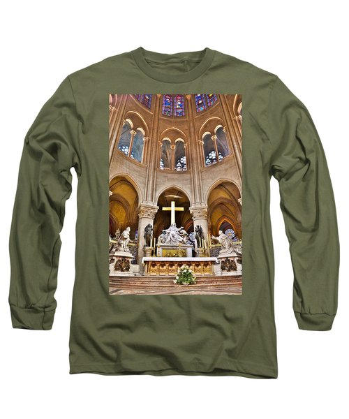 Long Sleeve T-Shirt featuring the photograph High Alter Notre Dame Cathedral Paris France by Kim Bemis