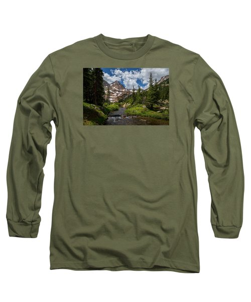 Hiking Into A High Alpine Lake Long Sleeve T-Shirt by Michael J Bauer