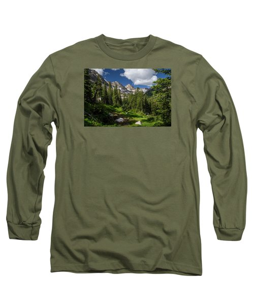 Hiking Into The Gore Range Mountains Long Sleeve T-Shirt by Michael J Bauer