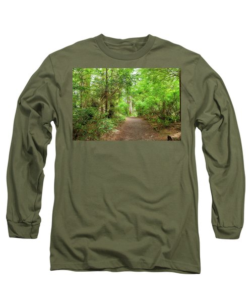 Hiking Trail Through Forest Along Lewis And Clark River Long Sleeve T-Shirt