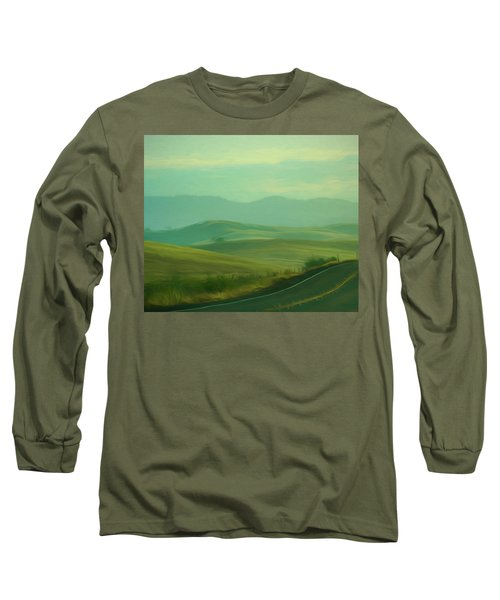 Hills In The Early Morning Light Digital Impressionist Art Long Sleeve T-Shirt