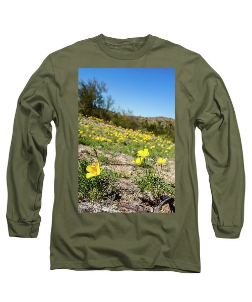 Hillside Flowers Long Sleeve T-Shirt by Ed Cilley