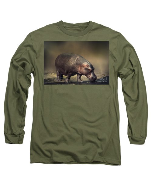 Long Sleeve T-Shirt featuring the photograph Hippo by Charuhas Images