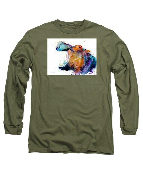 Hippo Long Sleeve T-Shirt by Slavi Aladjova