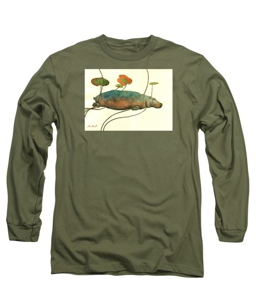 Hippo Swimming With Water Lilies Long Sleeve T-Shirt by Juan  Bosco