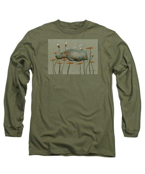 Hippo Underwater Long Sleeve T-Shirt by Juan  Bosco
