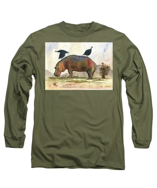 Hippo With Guineafowls Long Sleeve T-Shirt
