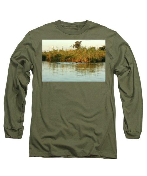 Long Sleeve T-Shirt featuring the photograph Hippos, South Africa by Karen Zuk Rosenblatt