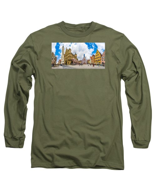 Historic Townsquare Of Rothenburg Ob Der Tauber, Franconia, Bava Long Sleeve T-Shirt by JR Photography