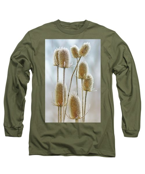 Long Sleeve T-Shirt featuring the photograph Hoar Frost - Wild Teasel by Nikolyn McDonald