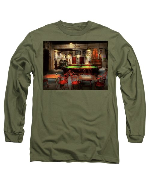 Long Sleeve T-Shirt featuring the photograph Hobby - Pool - The Billiards Club 1915 by Mike Savad