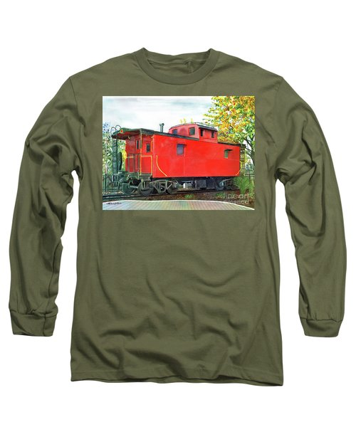 Holland Michigan Caboose Long Sleeve T-Shirt by LeAnne Sowa