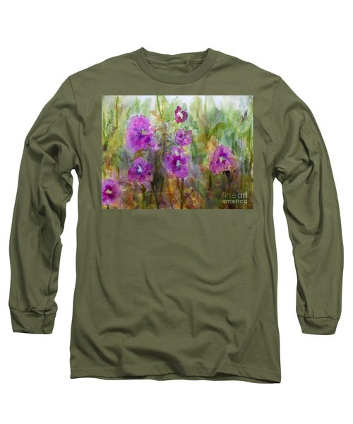 Hollyhocks Long Sleeve T-Shirt by Vicki  Housel