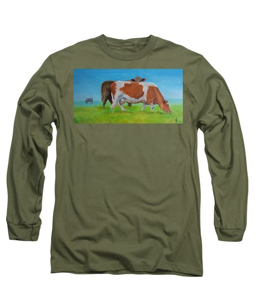 Holstein Friesian Cow And Brown Cow Long Sleeve T-Shirt