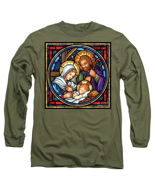 Holy Family Stained Glass Long Sleeve T-Shirt