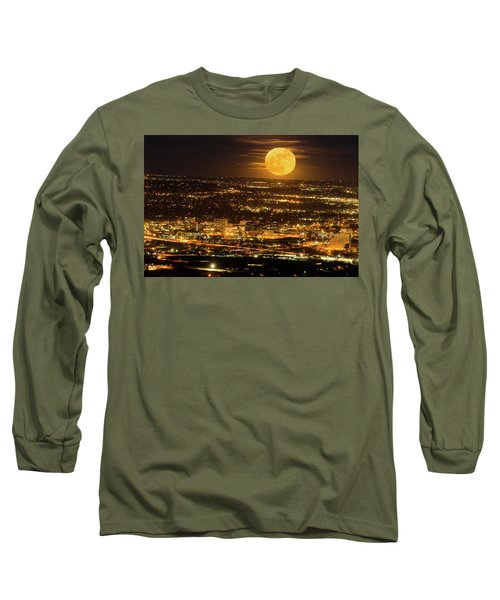 Home Sweet Hometown Bathed In The Glow Of The Super Moon  Long Sleeve T-Shirt by Bijan Pirnia