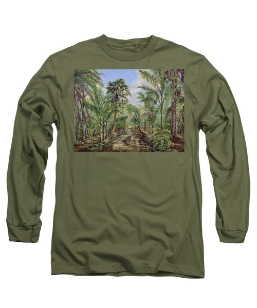 Long Sleeve T-Shirt featuring the painting Homestead Tree Farm by AnnaJo Vahle