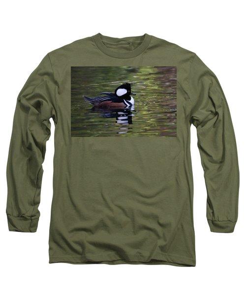 Hooded Merganser Duck Long Sleeve T-Shirt by Keith Boone