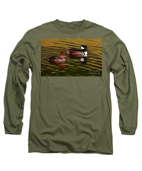Hooded Merganser Couple Long Sleeve T-Shirt by Myrna Bradshaw