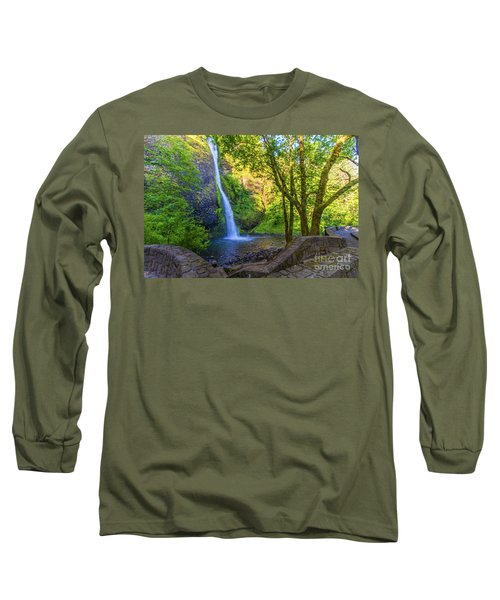 Long Sleeve T-Shirt featuring the photograph Horesetail Falls by Jonny D