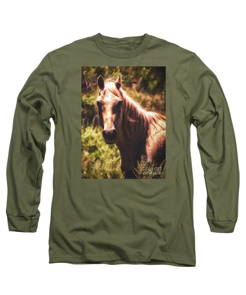 Long Sleeve T-Shirt featuring the photograph Horse  ... by Chuck Caramella