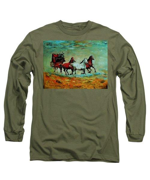 Horse Chariot Long Sleeve T-Shirt by Khalid Saeed