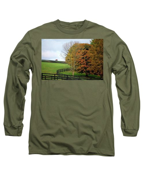 Horse Farm Country In The Fall Long Sleeve T-Shirt by Sumoflam Photography