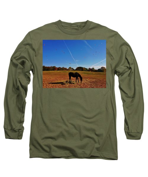 Horse Farm In The Fall Long Sleeve T-Shirt by Ed Sweeney